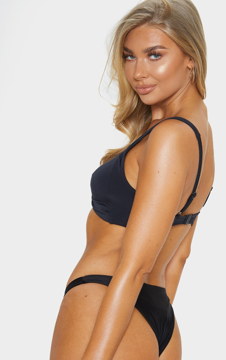 Black Mix & Match Twist Cupped Bikini Top 2