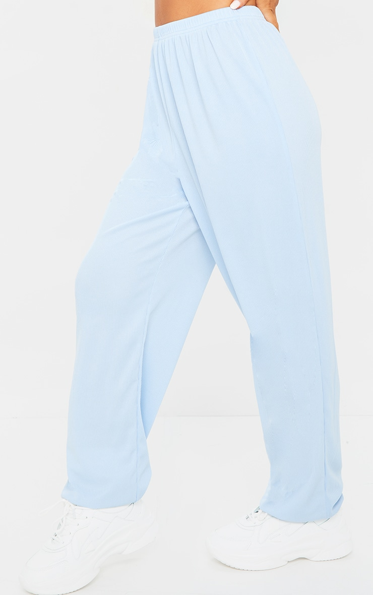 Baby Blue Ribbed Casual Joggers 2