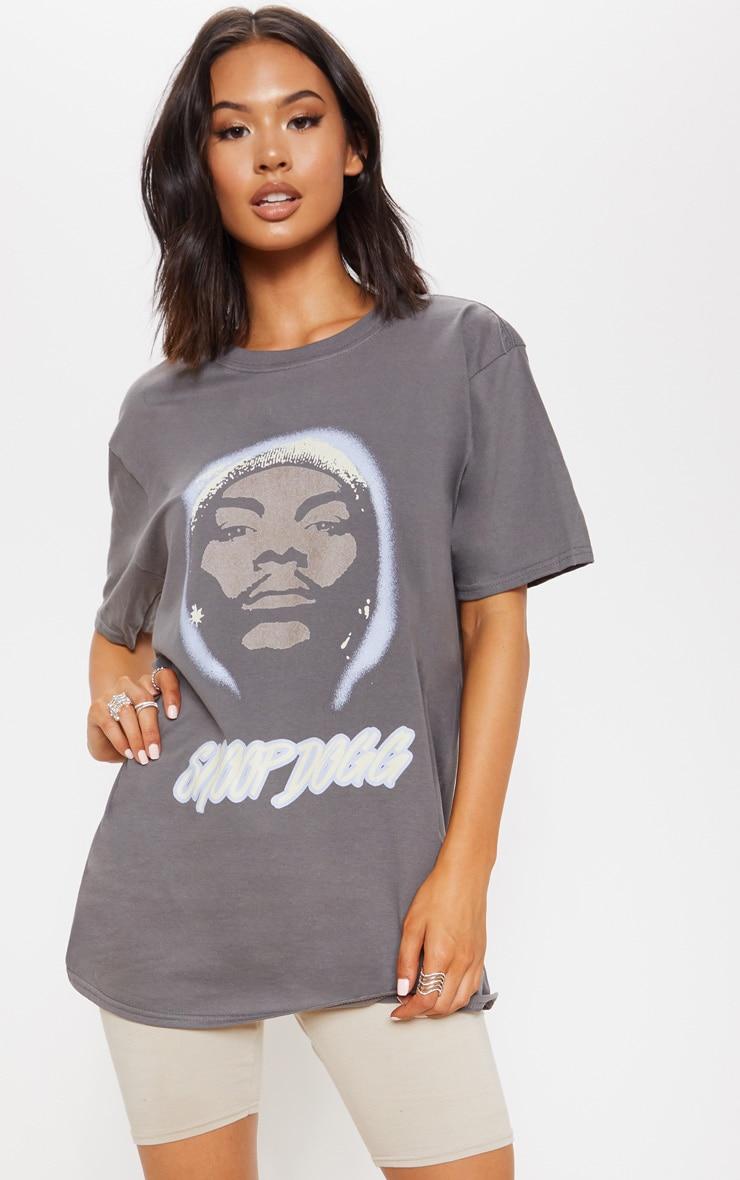030ff0f1 Grey Snoop Dogg Portrait Oversized T Shirt | PrettyLittleThing