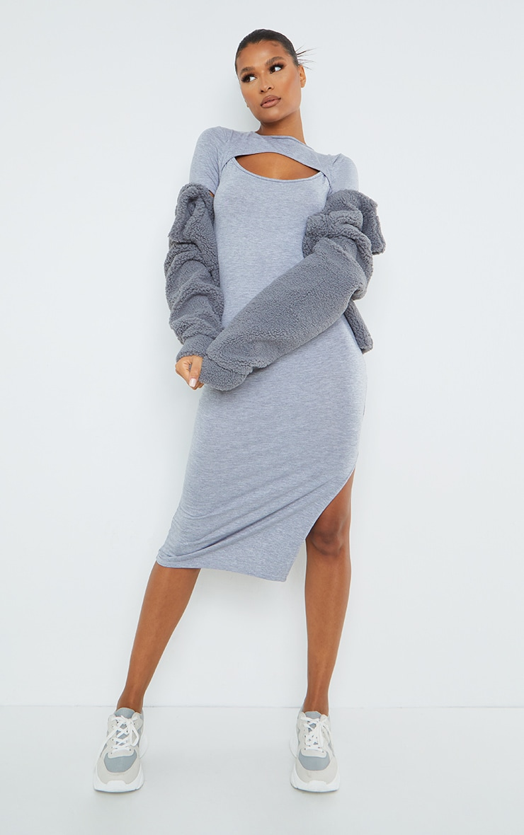 Grey Cut Out Short Sleeve Split Midi Dress 3