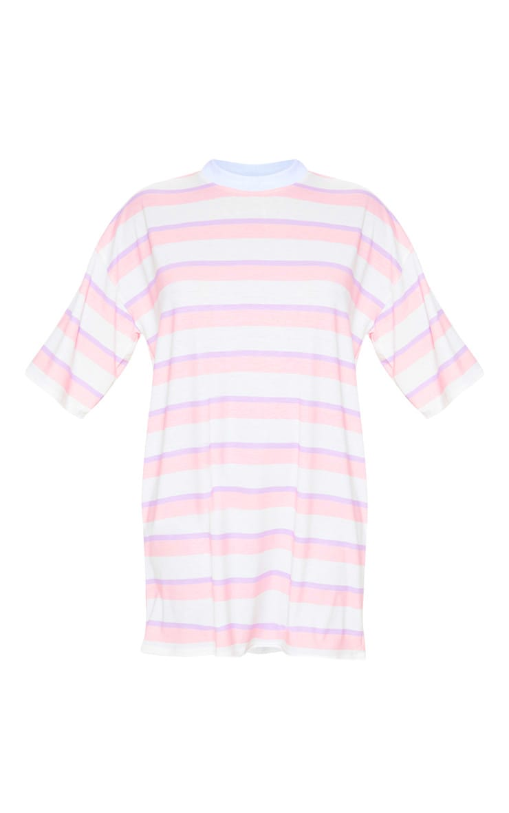Baby Pink Stripe Oversized Boyfriend T Shirt Dress 3