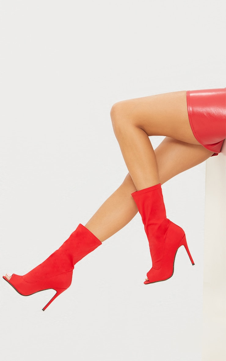 Red Lycra Peeptoe Sock Boot 1
