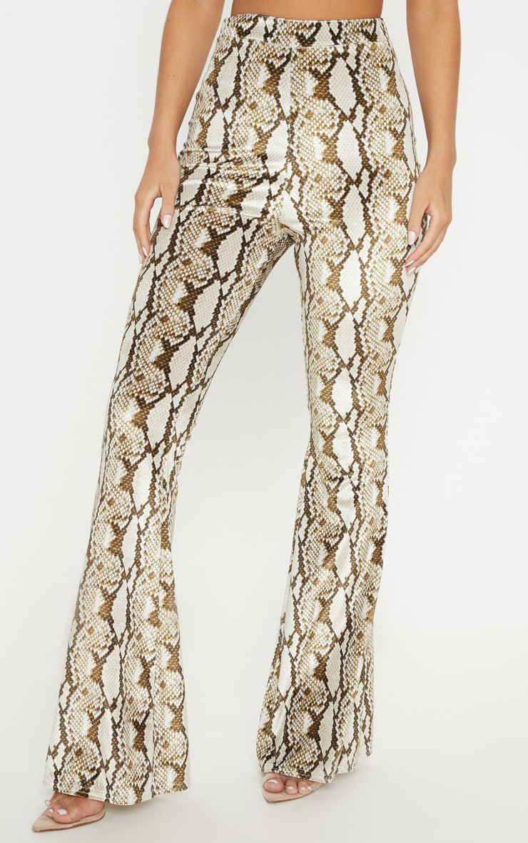 Cream Velvet Snake Flared Trouser 4