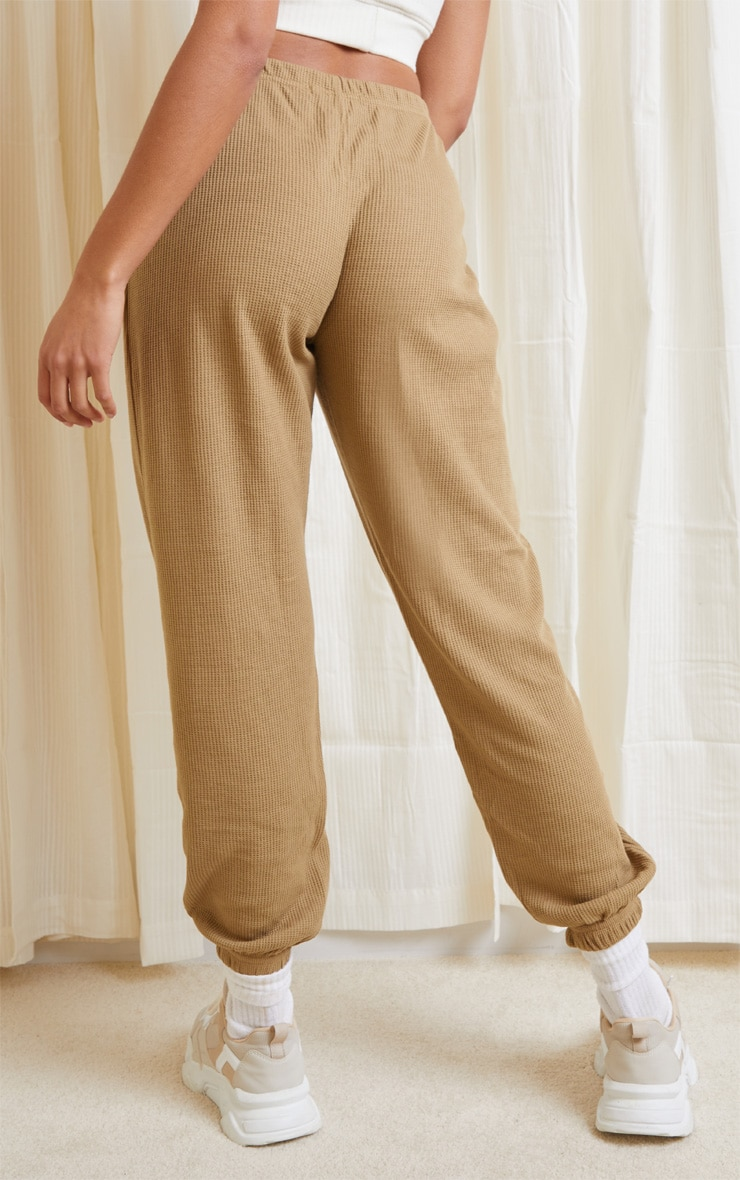 Camel Waffle Textured Casual Joggers 3