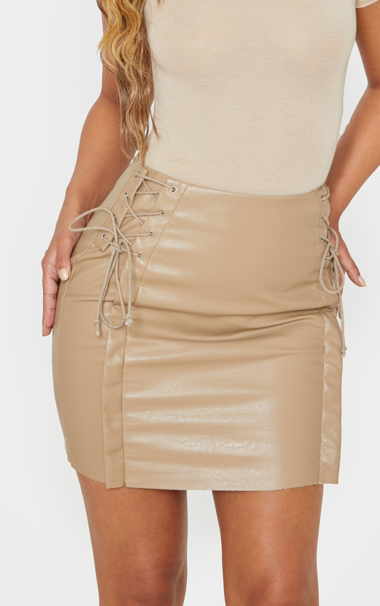 Petite Taupe Lace Up Side PU Mini Skirt 6