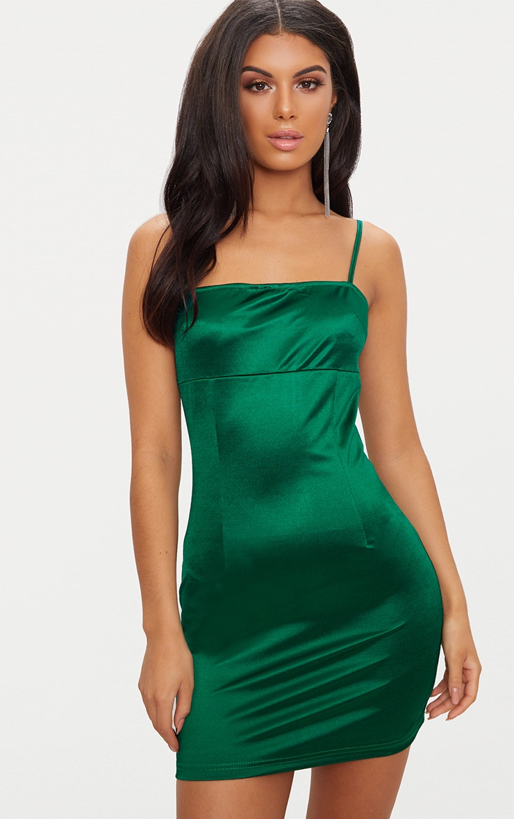Emerald Green Straight Neck Strappy Satin Bodycon Dress  1
