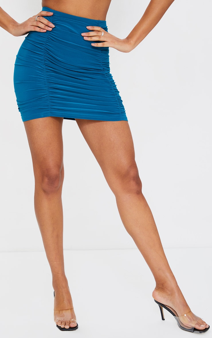 Teal  Slinky Double Ruched Seam Mini Skirt 2