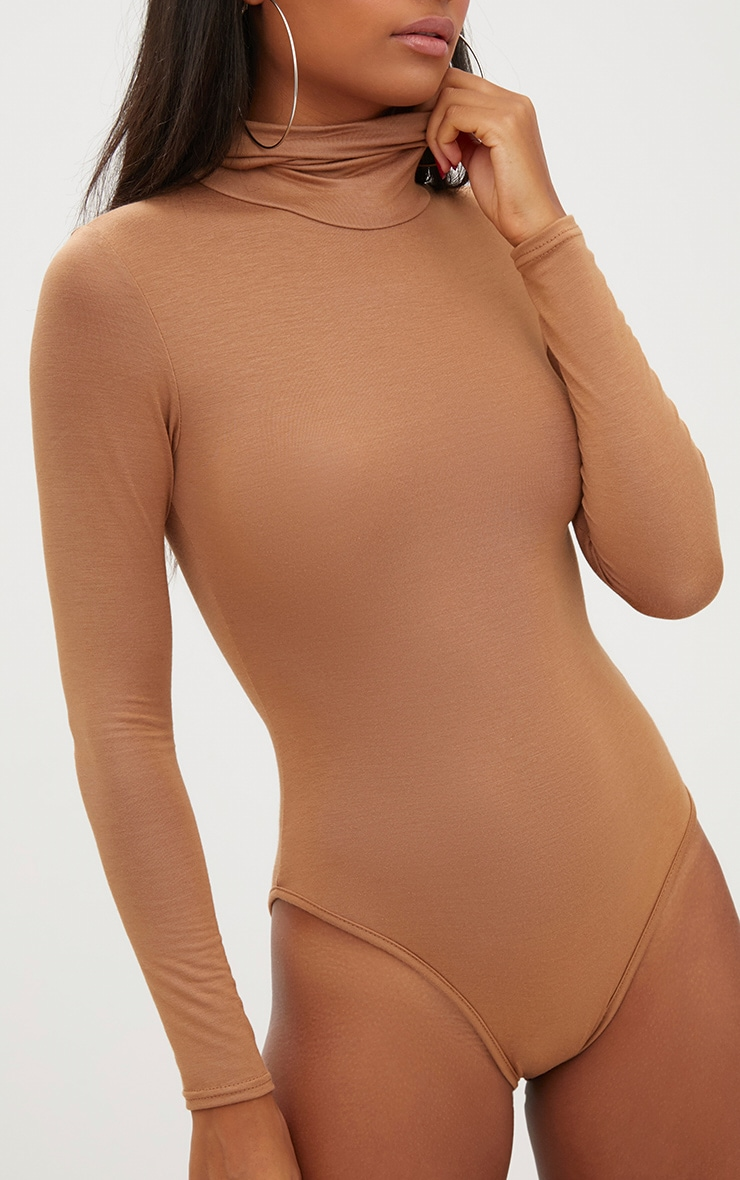 Camel Roll Neck Long Sleeve Bodysuit 6