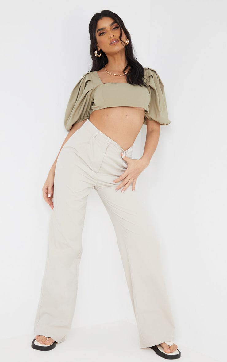 Sage Green Woven Pleat Balloon Sleeve Square Neck Crop Top 2