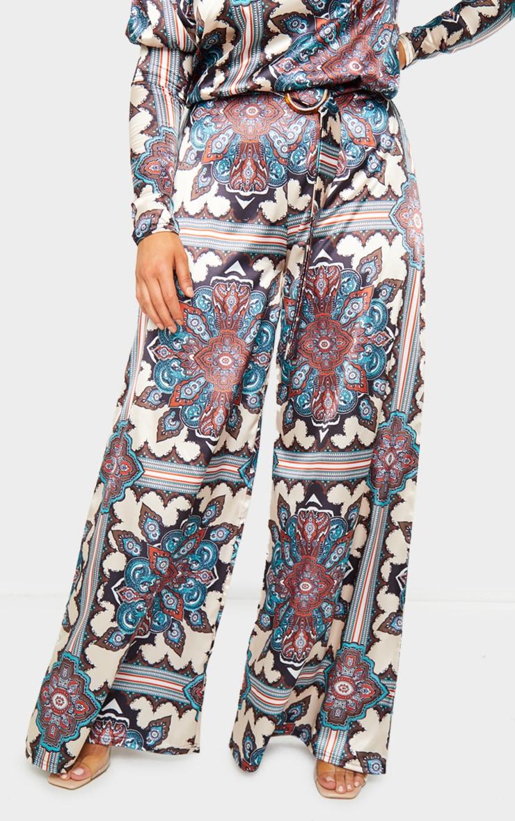 Blue Paisley Print Wide Leg Trousers 2
