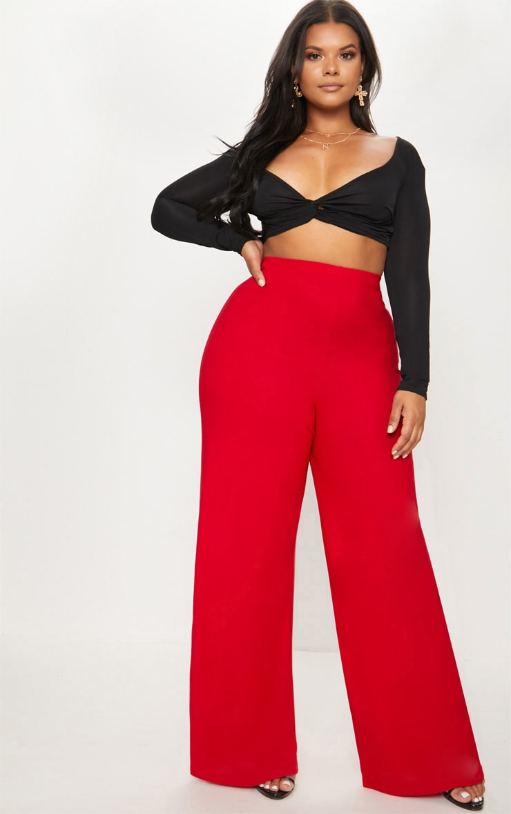 Plus Red High Waisted Wide Leg Trousers 1