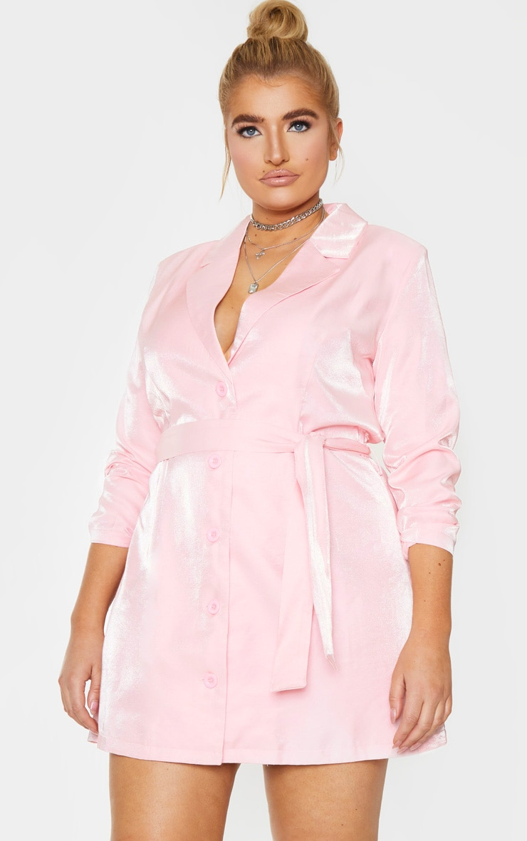 Plus Blush Shimmer Satin Tie Waist Blazer Dress 3