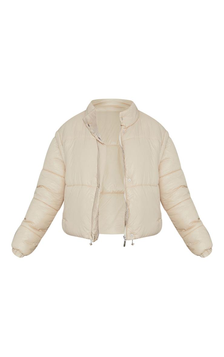 Cream Detachable Arm Vest Puffer Jacket 5
