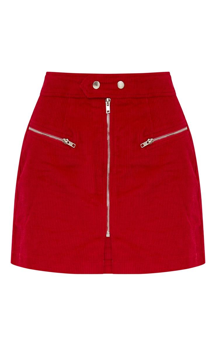 Red Cord Zip Up Mini Skirt 3