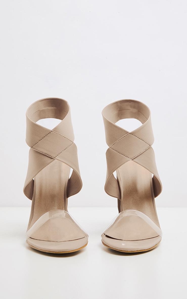 Nude Elastic Block Heel Sandal 3