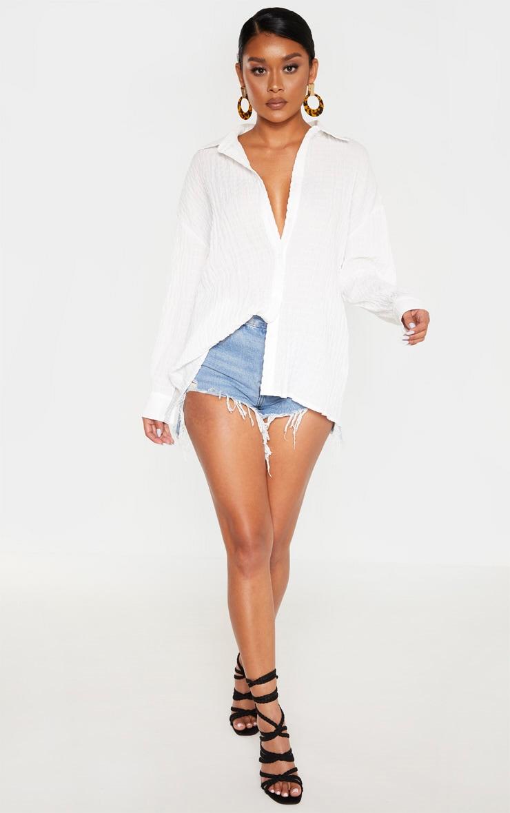White Shirred Oversized Shirt 4