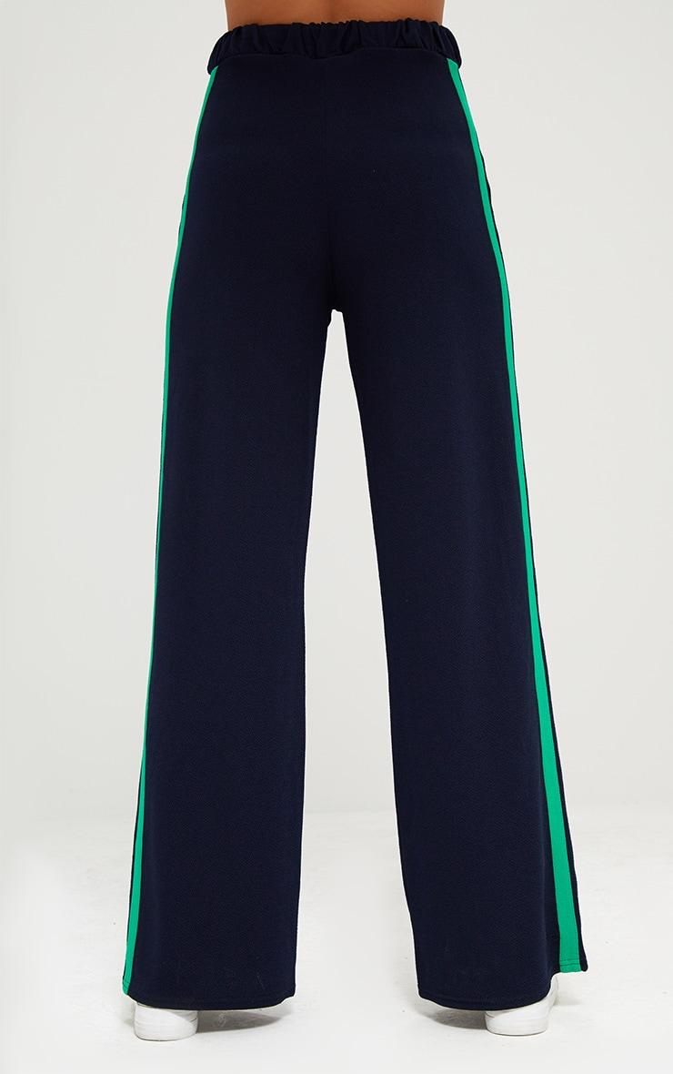 Navy Wide Leg Contrast Stripe Track Pants  4