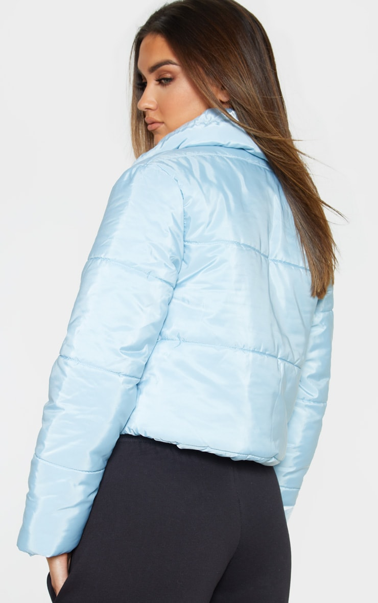 Baby Blue Cropped  Puffer Jacket 2