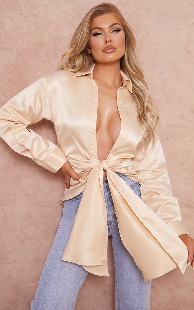 Champagne Satin Ruched Tie Front Plunge Shirt 1