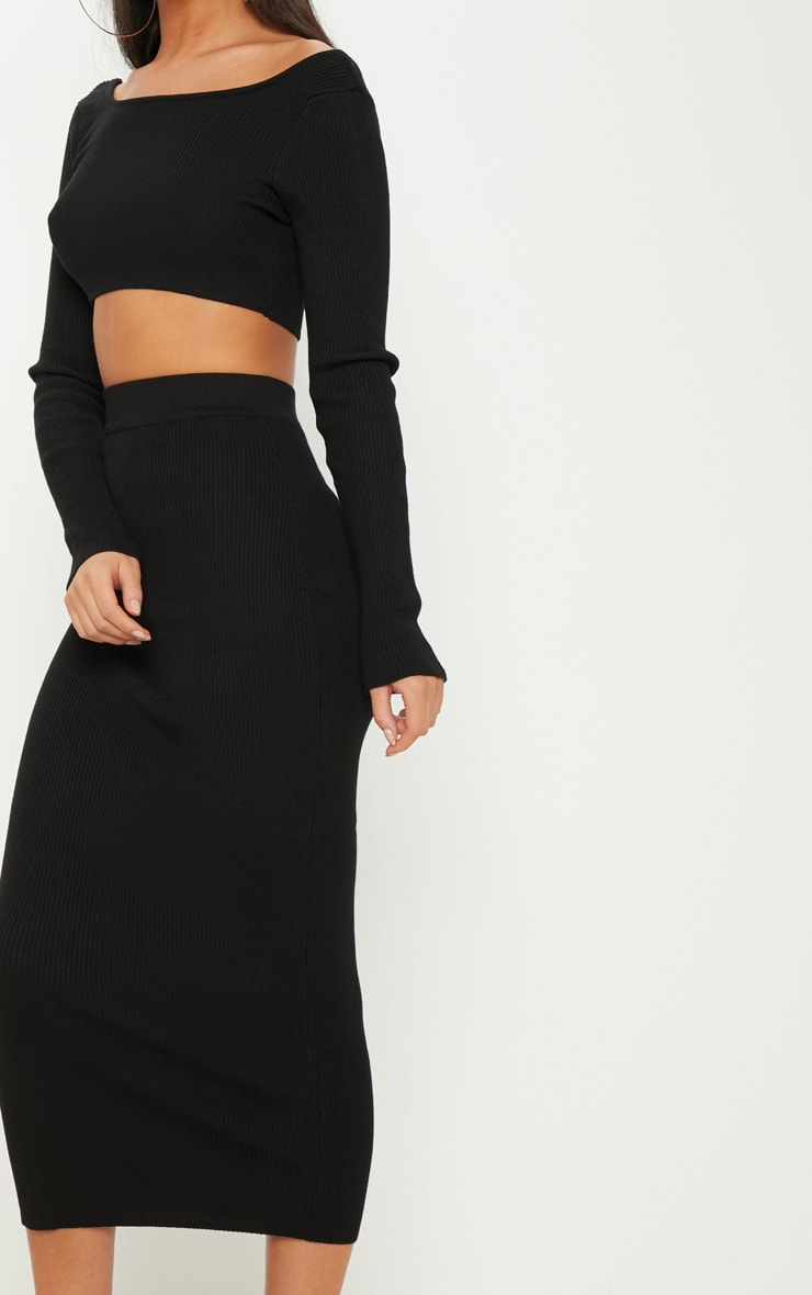 Black Knitted Midi and Crop Co Ord 5