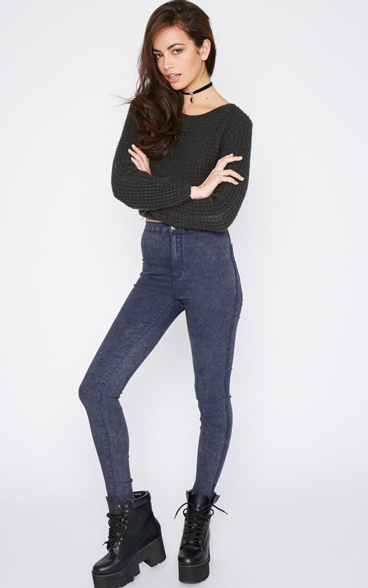 Dark Acid Wash High Waist Jeans 1