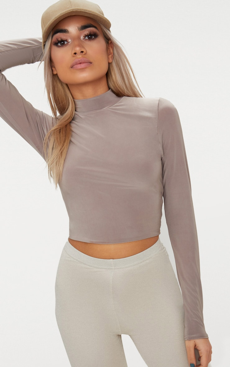 Taupe Slinky High Neck Long Sleeve Crop Top 1