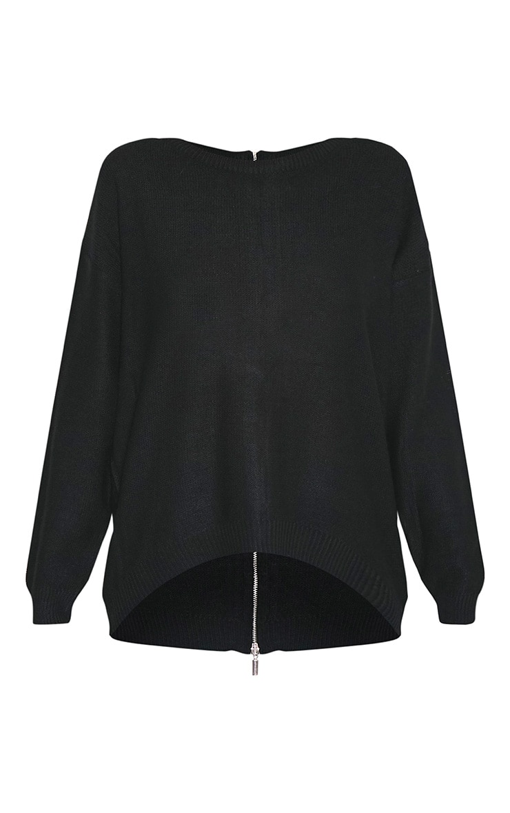 Hadiya pull tricoté à fermeture éclair au dos noir 3