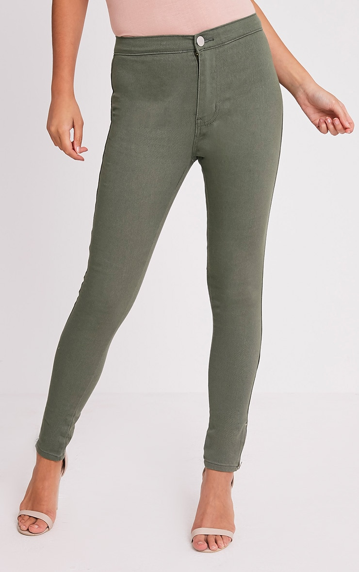 Kylie jean skinny taille haute kaki 4