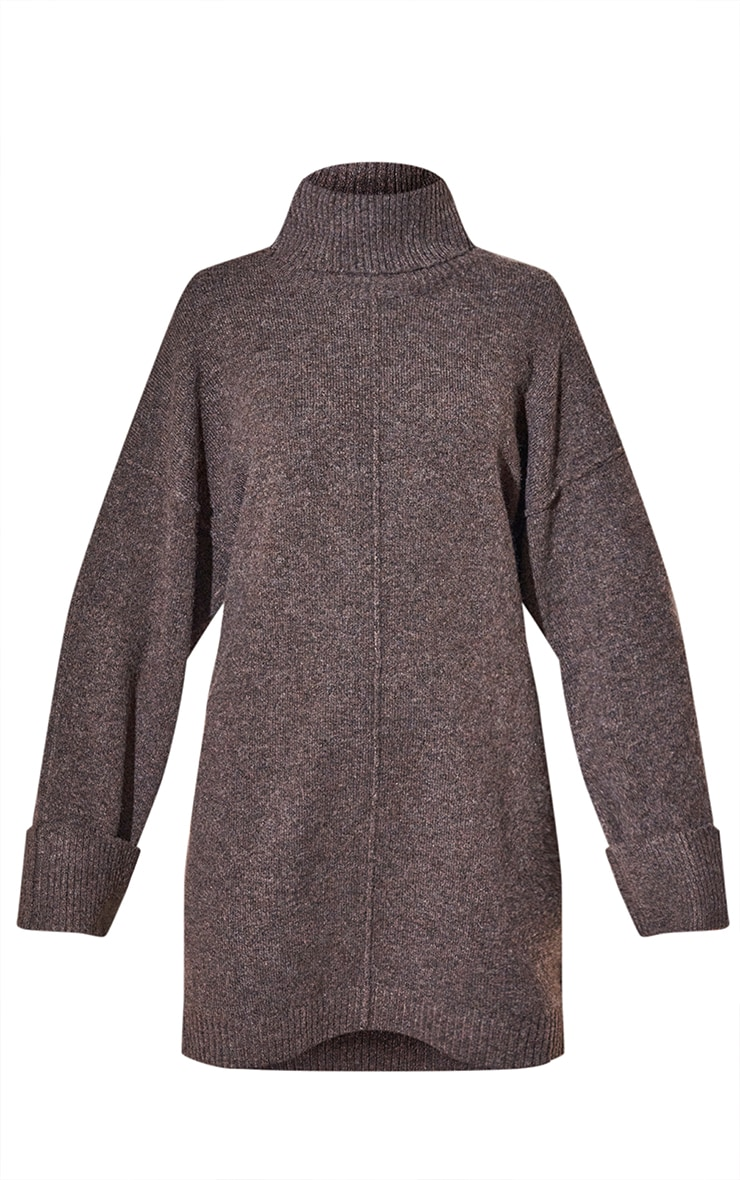 RENEW Chocolate Knitted Slouchy Seam Roll Neck Jumper Dress 5