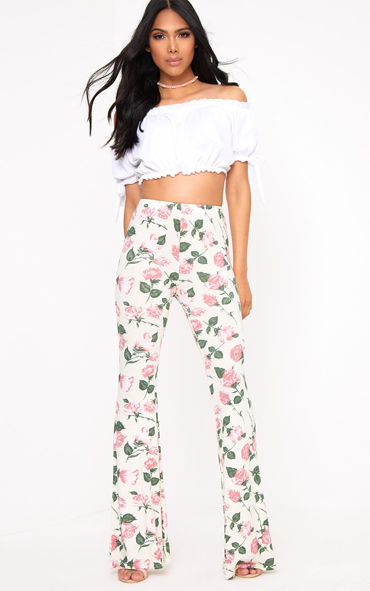 Stone Floral Print Jersey Flared Trousers 1