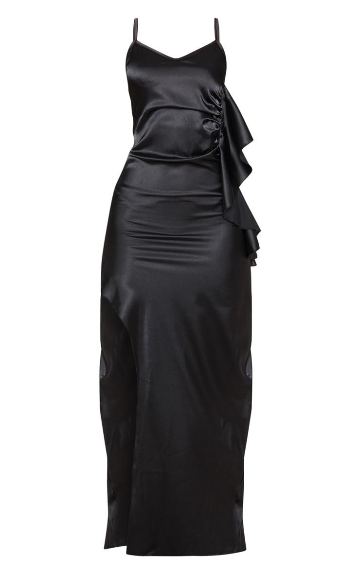 Petite Black Frill Detail Double Split Satin Maxi Dress 3