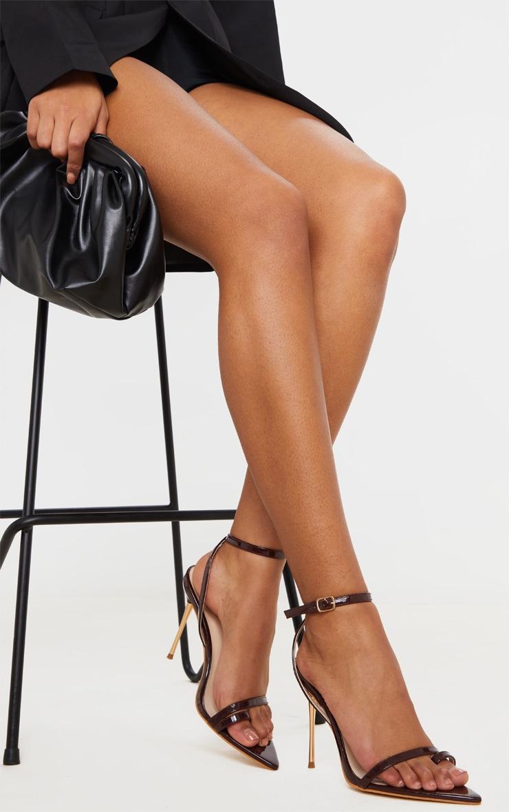 Chocolate Pin Heel Toe Loop Ankle Strap Point Sandal 2