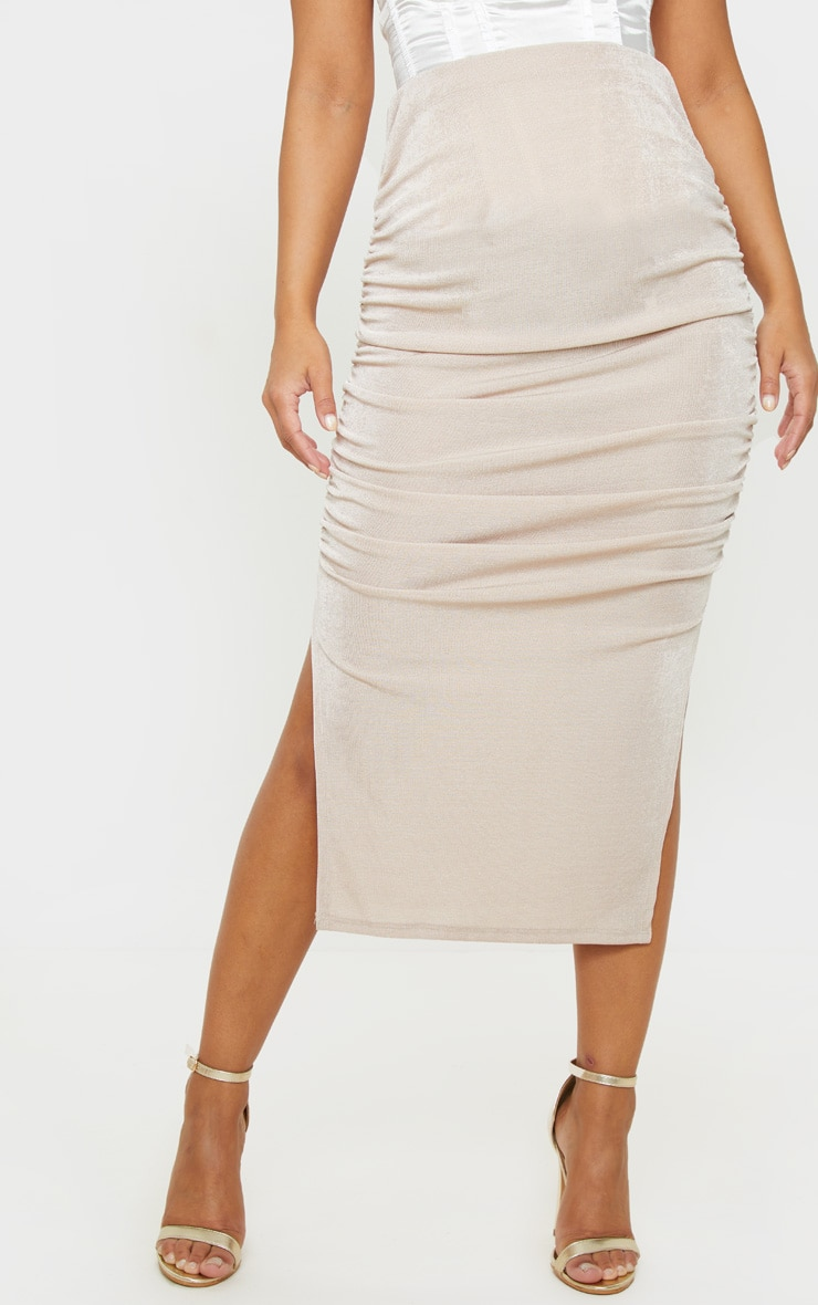 Petite Champagne Ruched Double Split Midi Skirt 2