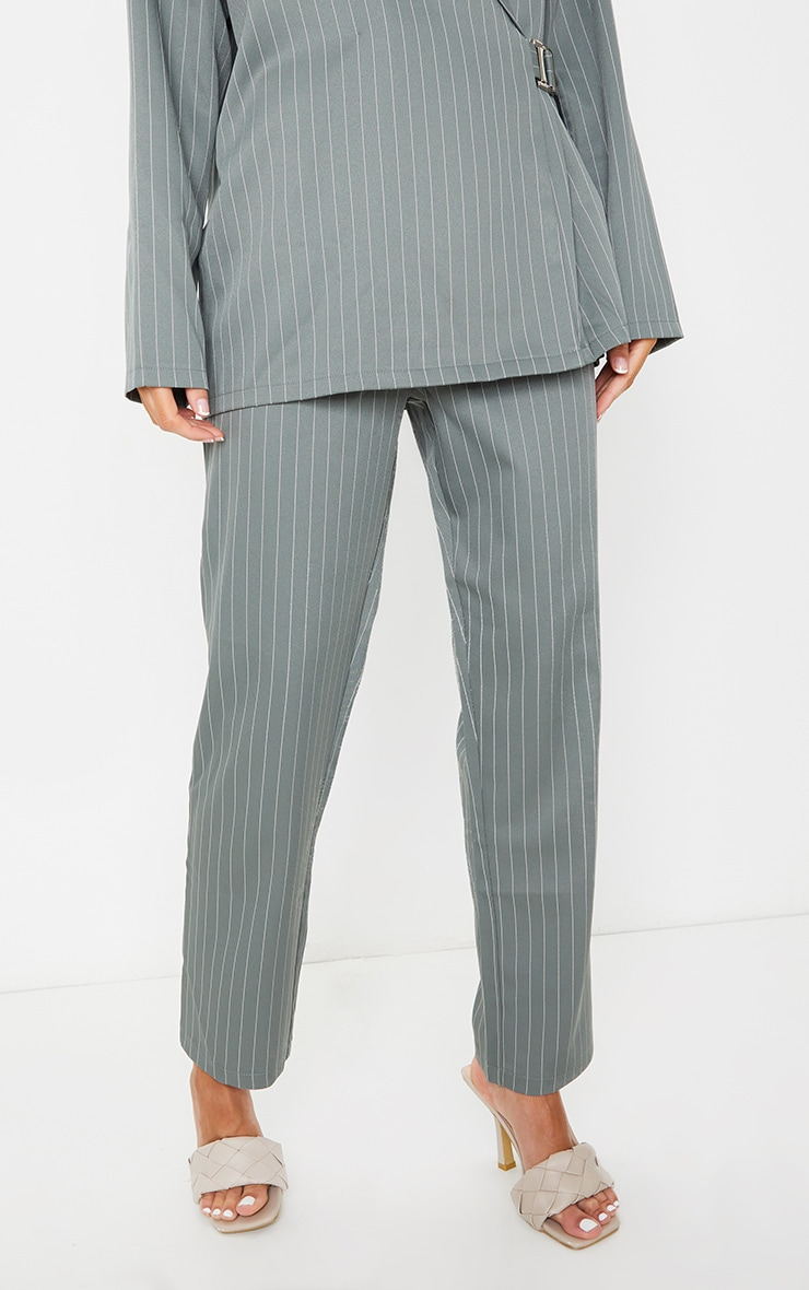 Teal Pinstripe Belted Straight Leg Trousers 2