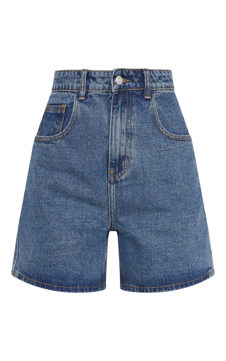 Mid Wash Longline Denim Shorts  3