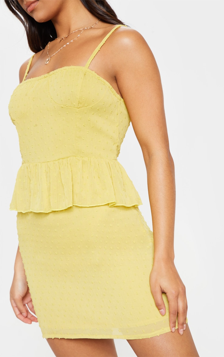 Chartreuse Dobby Mesh Cup Detail Skater Dress 5