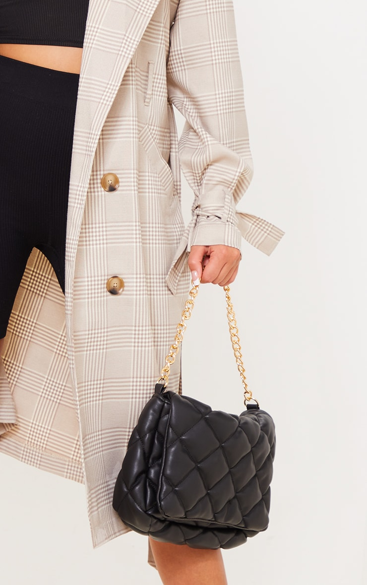 Stone Checked Woven Drop Shoulder Belted Trench 4