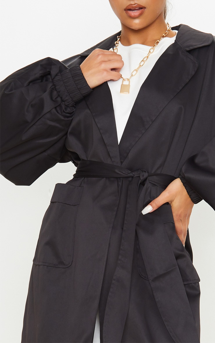 Black Balloon Sleeve Tie Waist Trench 5