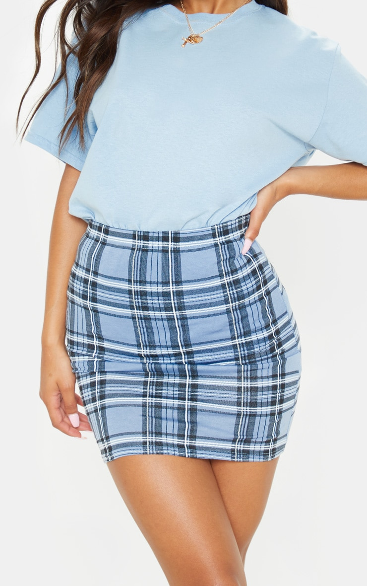 Pastel Blue Check Print Mini Skirt 6