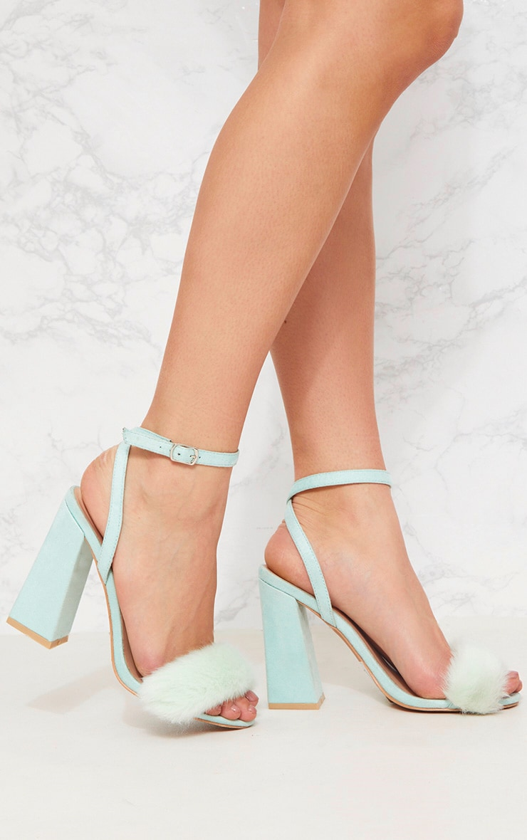 Mint Faux Fur Strappy Block Heel Sandal 1