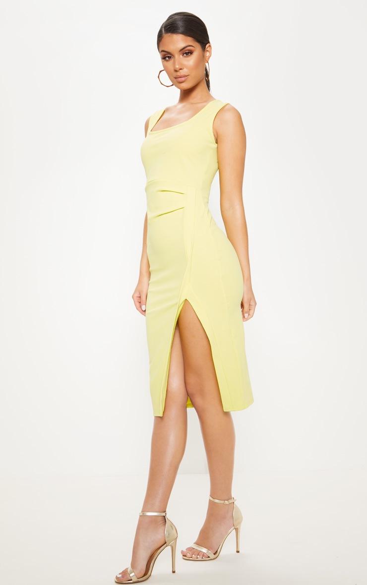 24ff3c6a608 Robe mi-longue vert citron fendue à encolure carrée image 1