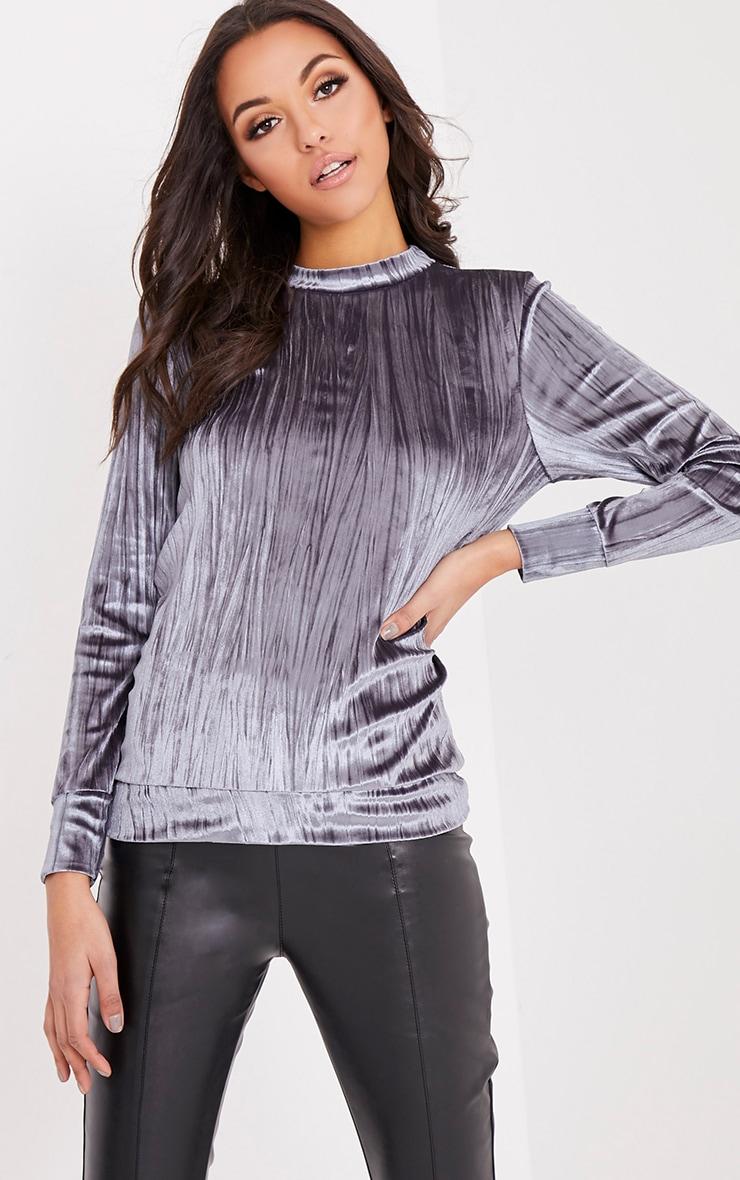 Aria Grey Pleated Velvet Crew Neck Sweater 1