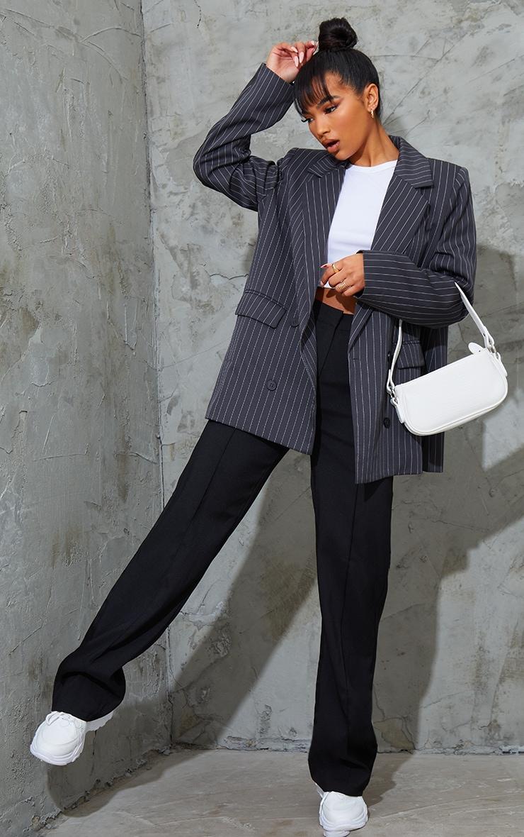 Grey Woven Pinstripe Single Breasted Shoulder Padded Blazer 3