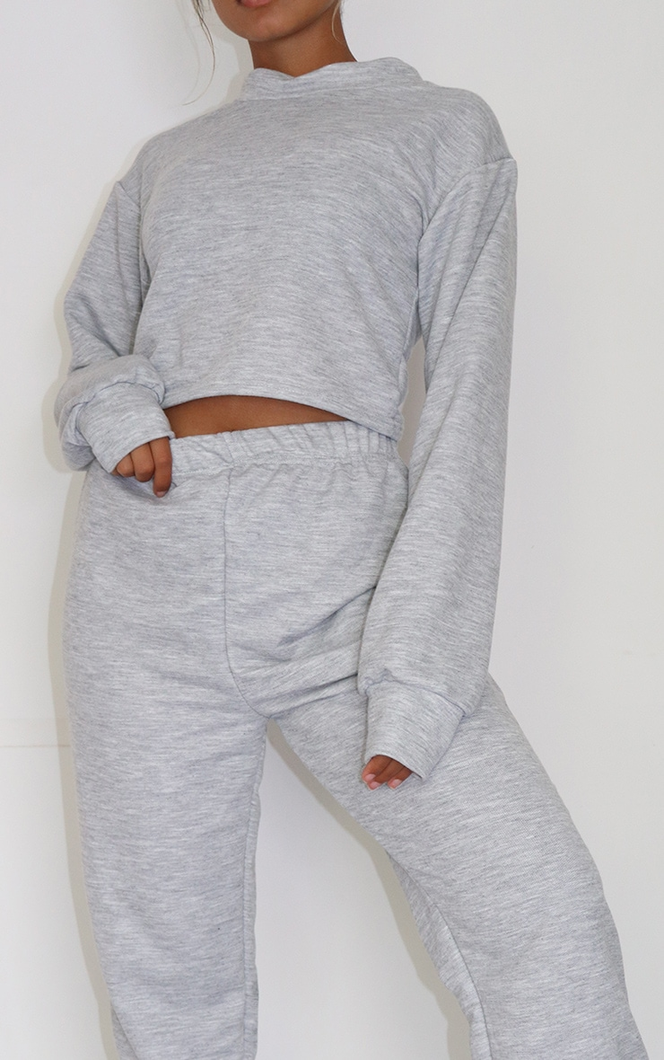 Petite Grey Cropped Sweat and Jogger Set 4