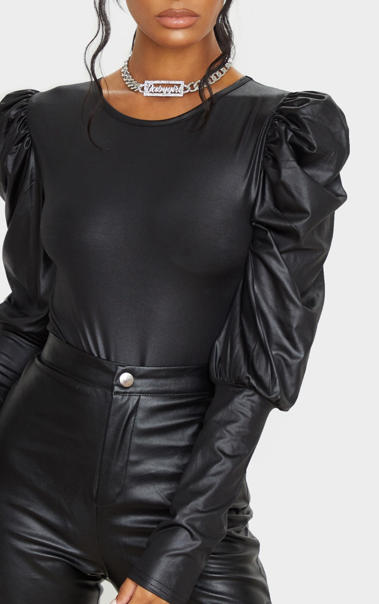 Black Wet Look Puff Long Sleeve Bodysuit 3