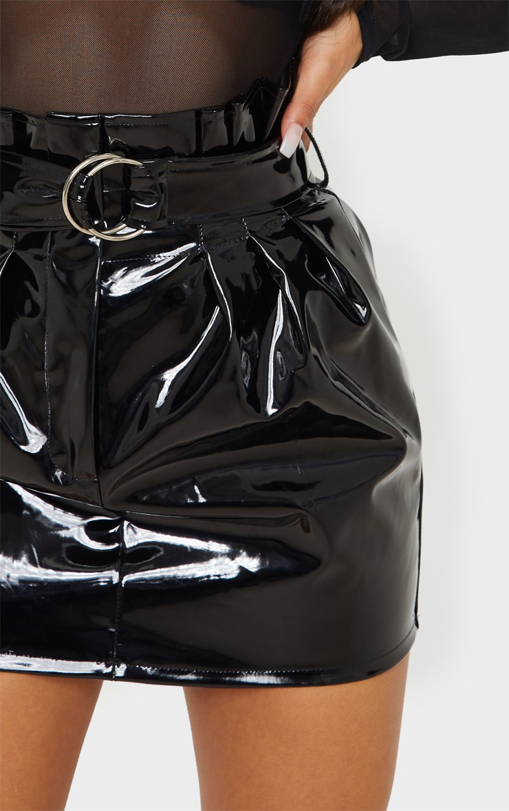 Black Vinyl Belted Paperbag Mini Skirt 6