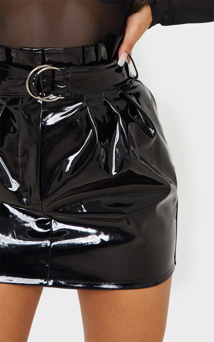 Black Vinyl Belted Paperbag Mini Skirt 7