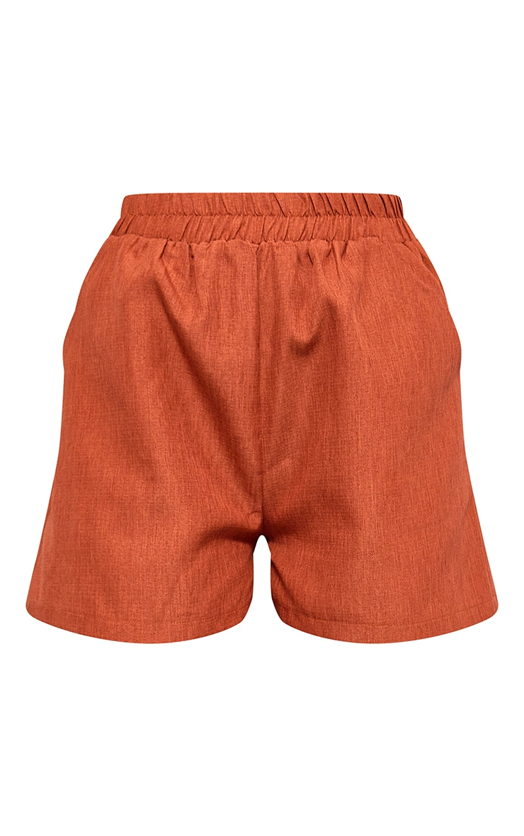 Rust Textured Woven Floaty Shorts 6