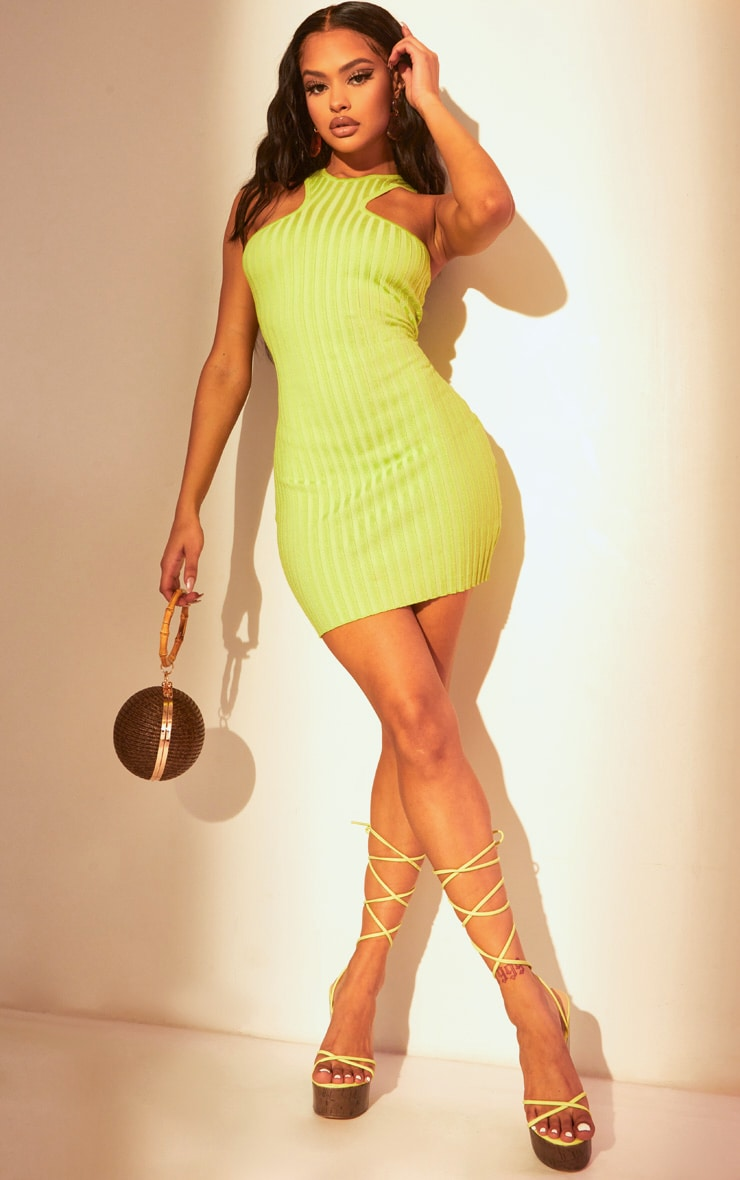 Lime Knitted Racer Neck Bodycon Dress 1