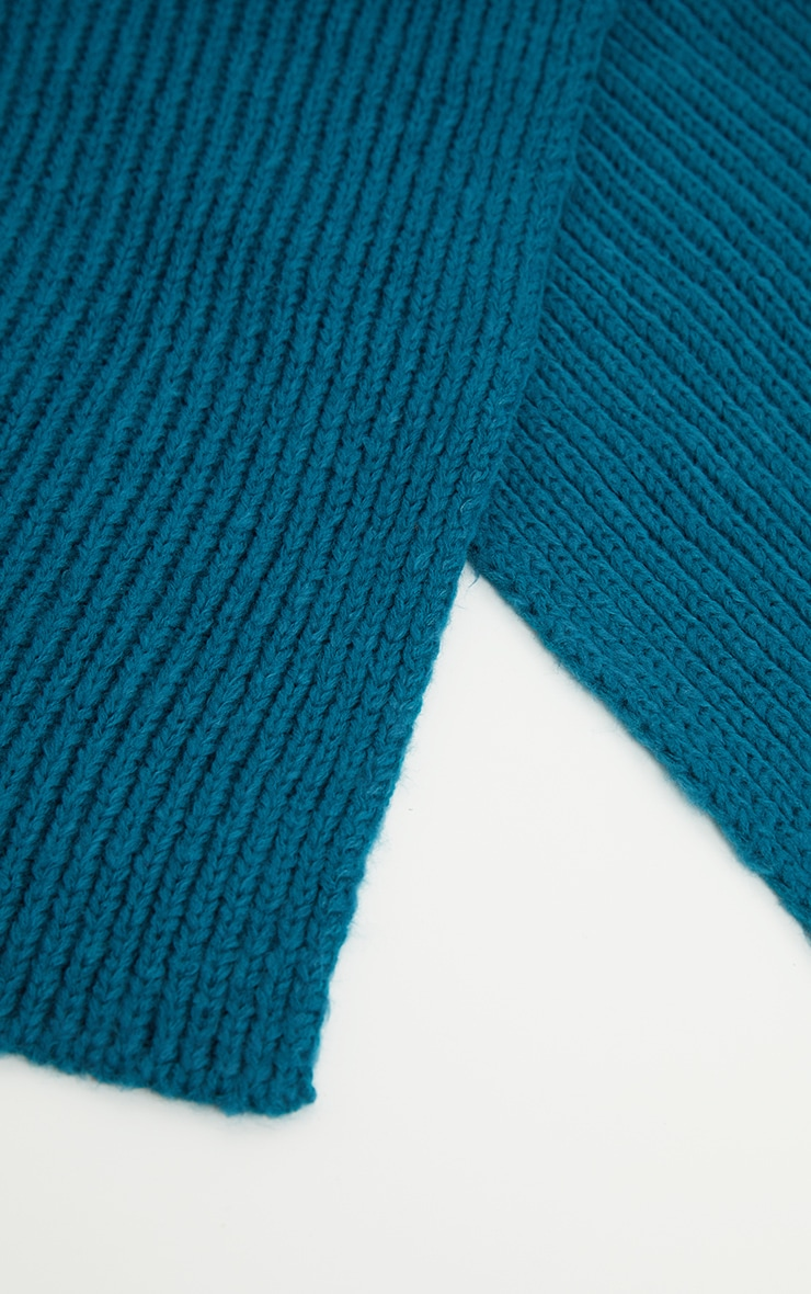 Teal Ribbed Knit Scarf 3